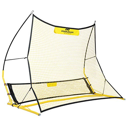 PodiuMax Upgraded Portable Soccer Trainer, 2 in 1 Soccer Rebounder Net to Improve Soccer Passing and Solo Skills, 6ft x 4.7ft