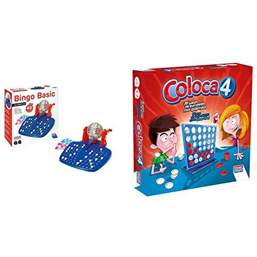 Falomir Bingo Automático Mesa Juego Clásico, Multicolor, 28 x 29 x 11 cm (27921) + Coloca 4 Juego de Mesa, Multicolor, Única (646469)