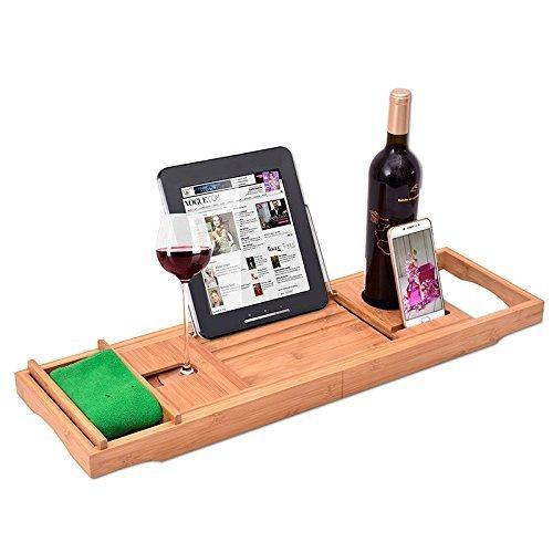 Beelee Premium 100%, natürlichen Bambus Bad Caddy Bridge - ausziehbar Book Rest, Wein Glas Halter, Gerät (Tablet, Kindle, iPad, Smart Phone)