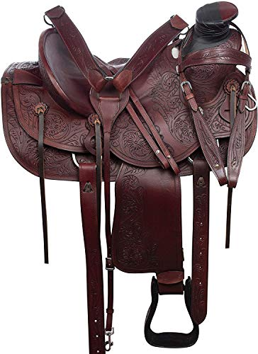 Deen, Enterprises, Wade Tree A Fork - Silla de montar para caballo de trabajo de cuero occidental, tamaño 14 a 18 pulgadas, asiento disponible (asiento de 45,5 cm)