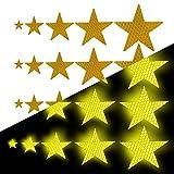 Tuqiang Forma de Estrella Cinta Reflectante Impermeable Pegatina para Silla de Ruedas Bastón Calzado Alta Visibilidad Cinta Adhesiva Reflectante 25 Piezas Amarillo