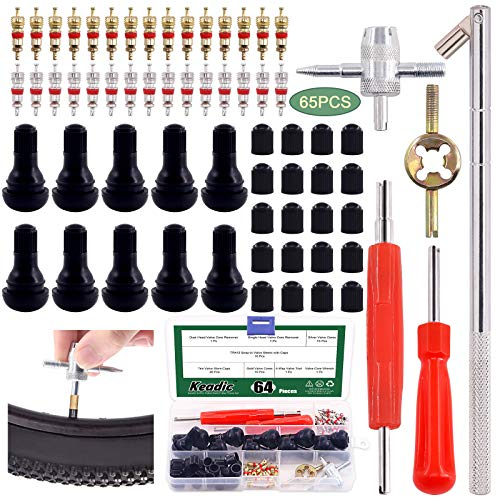 Keadic 65Pcs Valve Stem Puller Tools Set, including 10 TR412 Snap-in Valve Stems & Caps with Pure Copper Valve Stem Cores, 4 Way Valve Core Remover Installer Tool & Dual Single Head Valve Core Remover