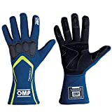OMP IB/764 Tecnica-S - Guanti da pilota ignifugi omologati FIA Motorsport, Blu/giallo., SMALL (USA 9) 18-21.5cm
