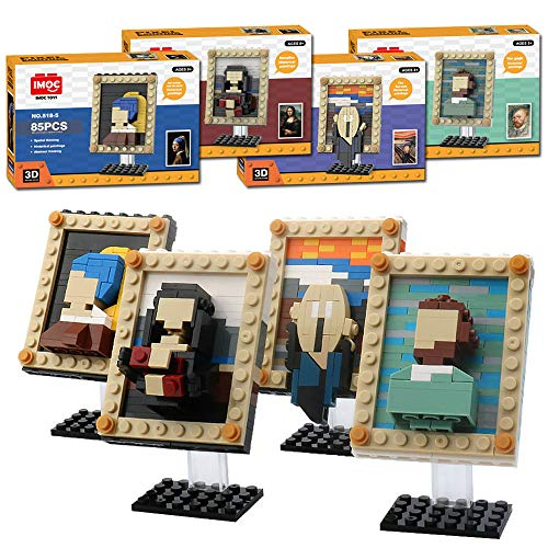 Four World Famous Painting MOC Building Blocks Set Toys,Compatible with Lego Art Craft Building Kit,A Home Decor Set for Adults Who Love Creative Hobbies,STEM Toys Gift for Kids Boys Girls