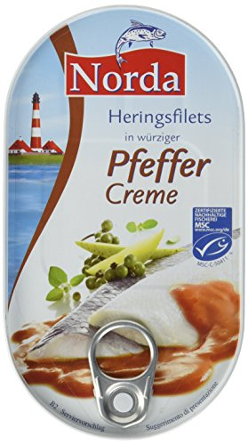 Norda Heringsfilets in Pfeffer-Creme, 13er Pack Konserven, Fisch in Pfeffercreme