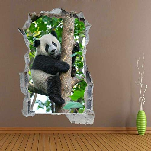 Pegatinas de pared Cute Panda Bear Tree Animal 3D Wall Sticker Mural Decal Kids Room Nursery DA49