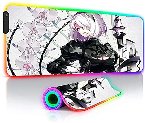 NieR Automata Anime XXL Large RGB Gaming Mouse Pads 14 Modes Glowing LED Keyboard Desk Mat 35.4x15.7_inches