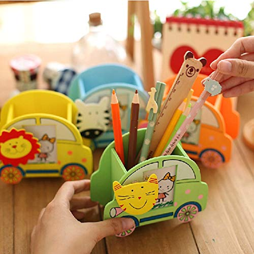 Wooden Cartoon Car Modeling With Picture Frame And Clip Child Pen Holder