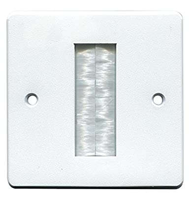 pro signal 22497av Brush Stripe Cable Entry Single Gang Wall Face Plate - White from Pro Signal
