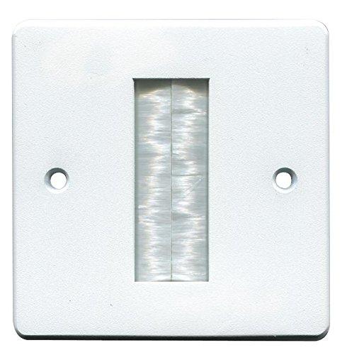 pro signal 22497av Brush Stripe Cable Entry Single Gang Wall Face Plate - White