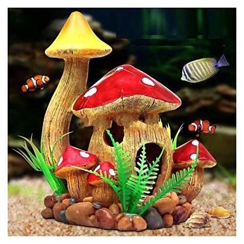 WODEJIA 1pc Champignon Décorations D'aquarium Ornement Résine Artificielle Poisson Masquant des Accessoires Paysages Poisson Poisson Échappement Trous Ornement (Color : White)