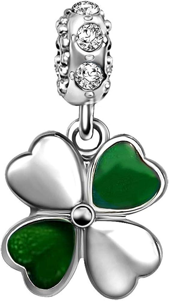 JMQJewelry Thanksgiving Lucky Clover Four-Leaf Charms Heart Charm for Bracelets Christmas Gifst Women Girl Men Kids Jewelry