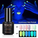 Finelyty Esmalte de uñas de Gel Fluorescente, Conjunto de Brillo seleccionado en Glow in The Dark - UV LED Soak Off Kit de Esmalte de uñas dramático Gel de uñas Nocturno 6 Colores