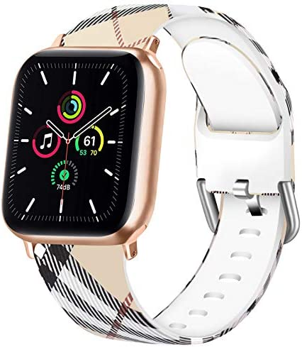 Vanjua Floral Bands Compatible with Apple Watch 38mm 40mm 42mm 44mm Soft Silicone Pattern Printed product image