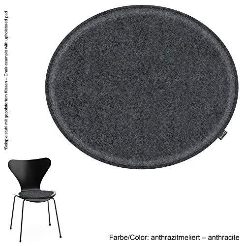Feltd. Eco Filz Kissen geeignet für Fritz Hansen, Arne Jacobsen Serie 7 Stuhl, 3107-29 Farben - optional inkl. Antirutsch und gepolstert! (anthrazitmeliert)