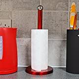 Top Home Solutions Rojo Cocina de acero inoxidable rollo de papel toalla dispensador soporte organizador