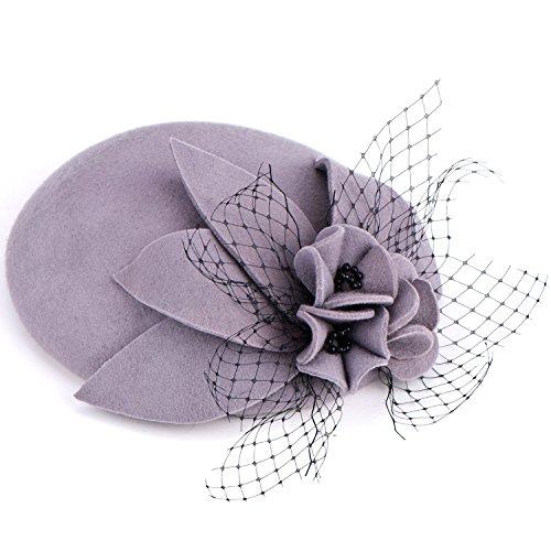 Lawliet Lawliet Cocktail-Hut für Damen mit Blume und schwarzen Perlen, aus Wolle, Fascinator Gr. Einheitsgröße, grau