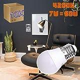 Jandei - Pack de 10 Bombillas LED Globo G45, Casquillo E27, 7W, Luz Blanca Neutra 4200K