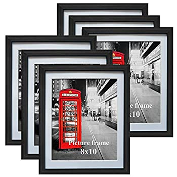 8x10 Black Picture Frames with Mat for Wall or Table Top Decoration Set of 6