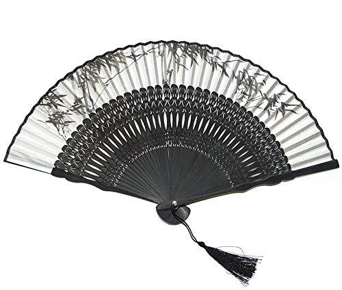 Mqmh Seda y bambú Ventilador Plegable Estilo Chino Ventilador de Mano Fan de Seda Hecho a Mano Regalo de Boda para Damas Chino Tinta Pintura de bambú patrón Estilo Chino