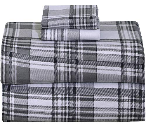 Ruvanti 100% Cotton 4 Piece Flannel Sheets Queen Balance Plaid Grey Deep Pocket-Warm-Super Soft - Breathable Moisture Wicking Flannel Bed Sheet Set Queen Include Flat Sheet, Fitted Sheet 2 Pillowcases