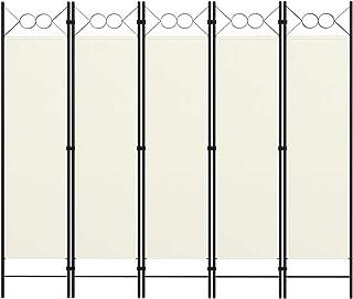 vidaXL Cloison de Séparation 5 Panneaux Séparateur de Pièce Diviseur Ecran d'Intimité Paravent Chambre à Coucher Maison In...