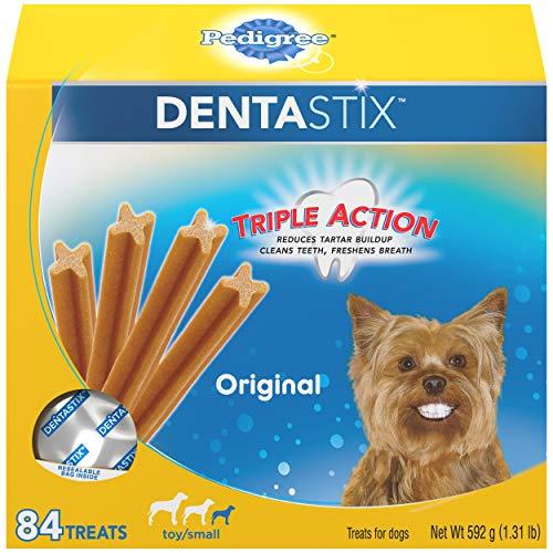 PEDIGREE DENTASTIX Toy/Small Dog Dental Treats Original Flavor Dental Bones, 1.3 lb. Pack (84 Treats)