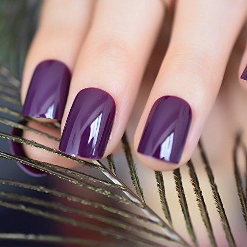 CoolNail Dark Violet False Fake Nail Tips Deep Purple Acrylic UV Nails Art Decoration Round Square Manicure Salon Tools