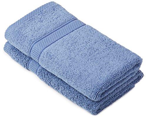 Pinzon by Amazon - Juego de toallas de algodón egipcio (2 toallas de manos), color azul claro