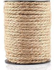 Jute touw, sterk henneptouw, sterk natuurlijk jute touw met spoel voor knutseltouwen/krabtouwen/tuinbundels