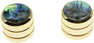 KAISH 2pcs Gold Push on Fit Abalone Top Guitar Dome Knobs or Bass Knob Fits Tele Telecaster