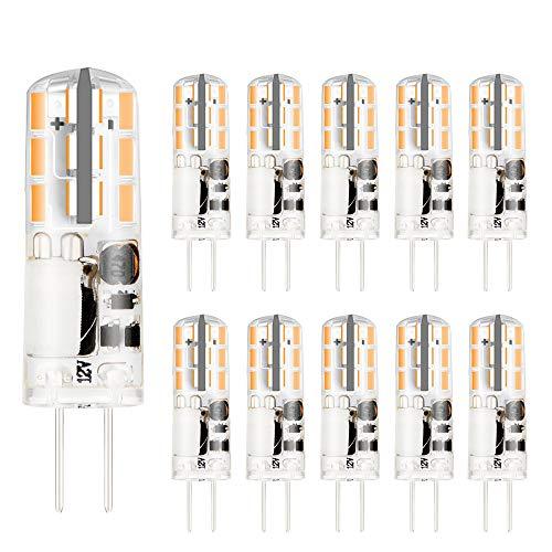 G4 LED Glühlampe, VINBE AC/DC 12V, 2W, entspricht 20W Halogen glühlampen, superhell, nicht dimmbar, weiches warmes Weiß (3000K, 10pack)