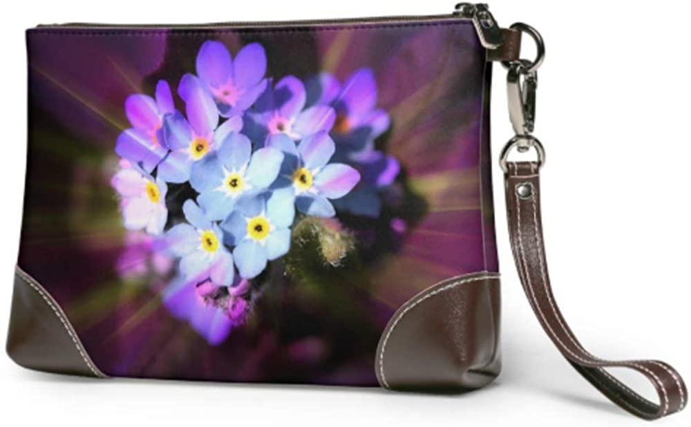 Soft Waterproof Wristlet Wallet For Girls Forget Me Not Blossom Bloom Flower Blue Plant Party Clutch Bag With Zipper For Women Girls