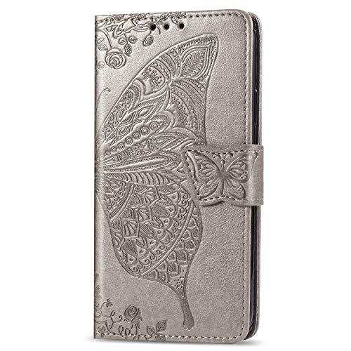 Karomenic PU Leder Hülle kompatibel mit Samsung Galaxy S10e Schmetterling Blume Muster Handyhülle Brieftasche TPU Silikon Schutzhülle Klapphülle Ledertasche Ständer Wallet Flip Case - Grau