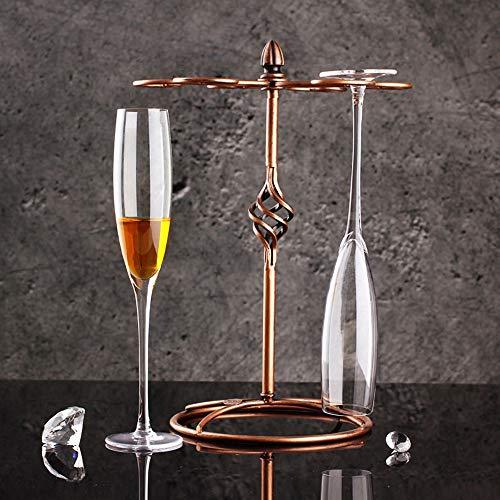 TONGZHENGTAI Stijlvolle Elegante Decoratie Loodvrije Crystal Champagne Bubble Goblet Glas Creatieve Rode Wijn Zoete Wijn Glas 27CM/200ML 6PCS+Drink Houder 32CM