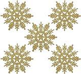 Naler 24 Adorno Copo de Nieve Dorado de Plástico Adornos Navideños con Purpurina para Decoración Colgante de Árbol de Navidad (10cm)