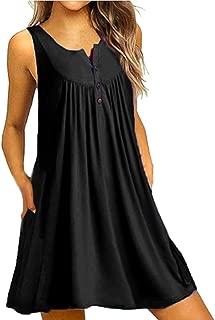 Aniywn Plus Size Women Dresses Casual Loose Summer Tunic Tank Dress Pleated Swing Midi Dress Beach Sundress