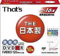 太陽誘電製 That's DVD-Rビデオ用 16倍速120分4.7GB ワイドプリンタブル 5mmPケース10枚入 DR-120WWY10SN
