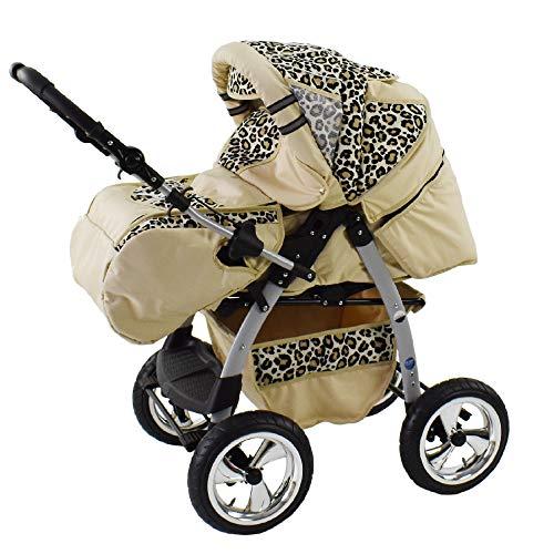 King Cochecito 3en1 + silla para coche + capazo adicionalmente crema & leopardo 2en1 sin asiento de coche