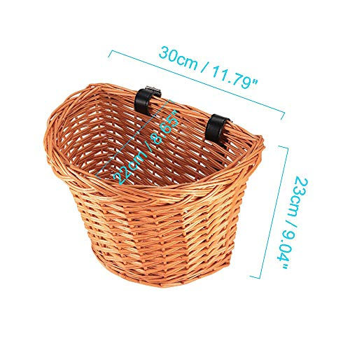 YChoice365 Bike Wicker Basket Front, Bike Baskets for Women with Leather Straps Artificial Wicker Woven Bicycle Basket Front Handlebar Rattan Bicycle Baskets Front - D Shape Large