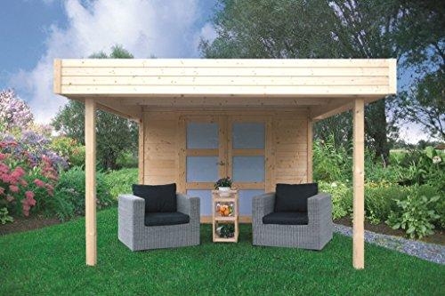 Tuinhuis met luifel Pirum S8322-28 mm blokhut, grondoppervlak: 8,64 m2, plat dak