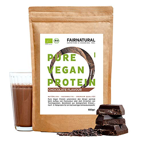 Protéines Vegan BIO Chocolat sans soja [d'Allemagne] - 650g Protéine végétale biologique de riz, protéine de chanvre et protéine de pois »Pour la cuisine et comme boisson protéinée«