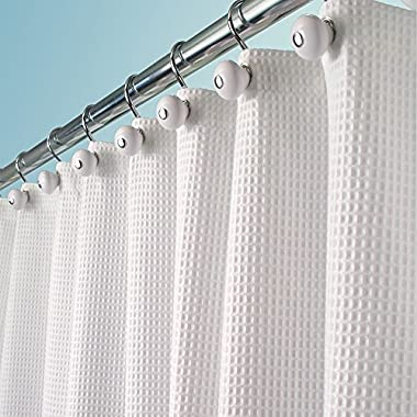 mDesign Hotel Quality Polyester/Cotton Blend Fabric Shower Curtain with Waffle Weave and Rustproof Metal Grommets for Bathroom Showers and Bathtubs - 72  x 72  - White