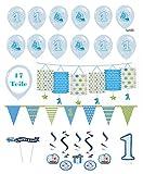 Feste Feiern Kindergeburtstag Junge erster 1. Geburtstag 17 Teile Deko-Set Luftballon Wimpel Laterne Hängedeko hellblau blau Happy Birthday Kleiner Prinz
