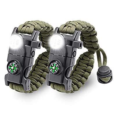 LeMotech 20 in 1 Adjustable Paracord Survival Bracelet, Tactical Emergency Gear Kit Includes SOS LED Flashlight, Compass, Rescue Whistle and Fire Starter-Outdoor Hiking Camping (Army Green (2pcs))