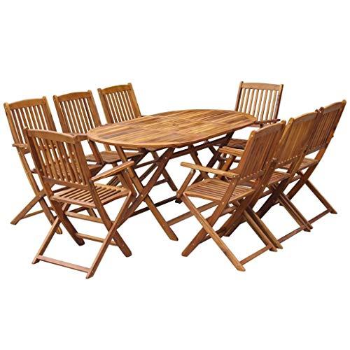 Qazxsw Juego de Comedor al Aire Libre de Madera Maciza de Acacia, sillones de Mesa Plegable de 9 Piezas