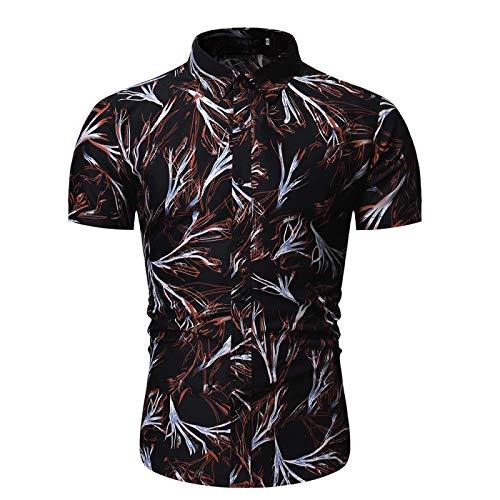 Camisa de Manga Corta Estampada Entallada para Hombre Ropa de Calle de Moda Verano Cómodas Camisas de Solapa clásicas clásicas de Todo fósforo M