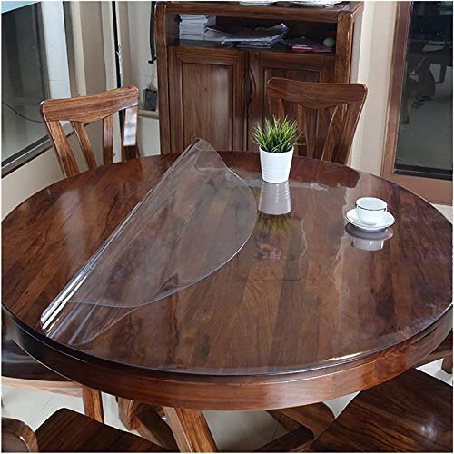 AWSAD Cubierta de Mesa Redonda, 1,5 Mm / 2 Mm Manteles Resistente al Rayado Resistente al Calor Estera de Mesa Vidrio Suave por Comedor (Color : Clear-2mm/Round, Size : 110cm)