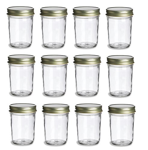 8 oz Mason Jars with Gold Lids (12 pack)
