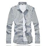 HDDFG Camisas de algodón de otoño para hombre, camisa de manga larga a rayas de diseño clásico informal, ropa para hombre, camisas de trabajo 7XL (Color : Black, Size : 2XL code)